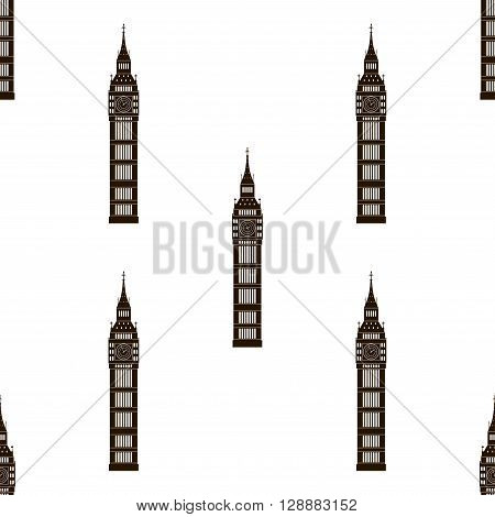 Big ben London, England, United Kingdom. Seamless background. Big ben icon repeating. Seamless pattern.