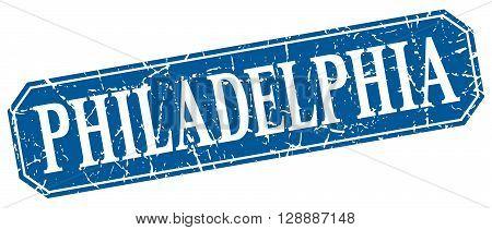 Philadelphia blue square grunge retro style sign