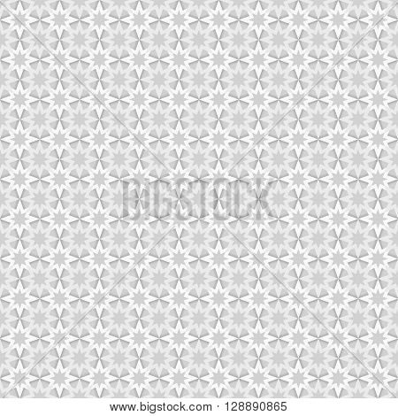 Seamless pattern with grey and white stars on dark grey background greyscale monochrome monochromatic endless abstract geometry texture