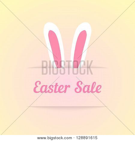 easter sale with ears in pocket. concept of special offer, shopping, marketing ploy, profitable proposition. isolated on cream background. flat style trendy modern design eps10 vector illustration