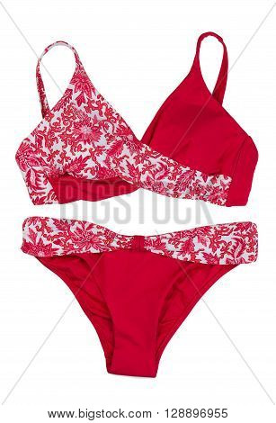 Set red swimsuit. Isolate on white. studio, pattern