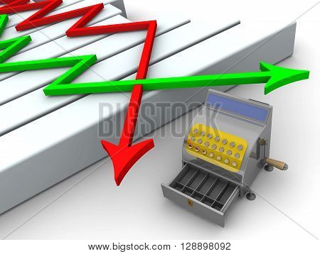 Chart and empty the cash register. Empty cash register and the chart on a white surface. The low level of sales. 3D Illustration