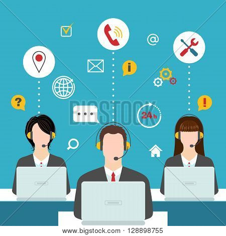 Men and women working in a call center. Support service concept. Male and female avatars with headset and call ceter icons. Vector illustration