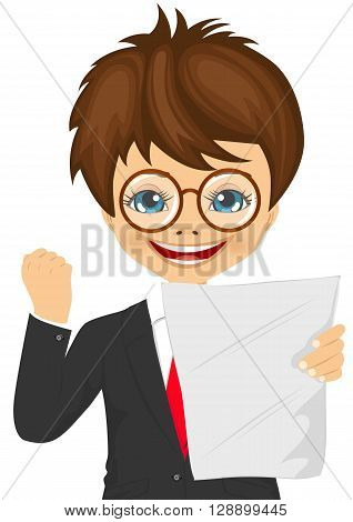 happy little schoolboy with glasses exults pumping fists ecstatic celebrates holding paper with result at college on white background