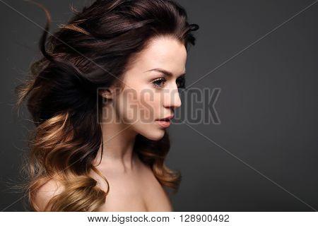 Long healthy and shiny hair, long women's hair.