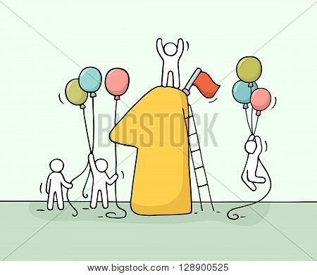 Sketch of working little people with number one baloons. Doodle cute miniature scene of workers preparing for the celebration. Hand drawn cartoon vector illustration for business design.