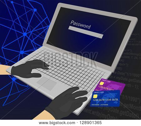 Hacker trying to enter the password with credit cards next to his laptop using them for unauthorized shopping. Theft Concept