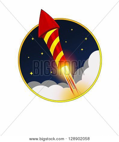 Firework red Rocket Flying in night Sky with stars. Vector. Holiday illustration