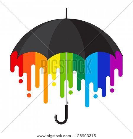 Black open classic umbrella stick with rainbow paint flow inside. Vector illustration