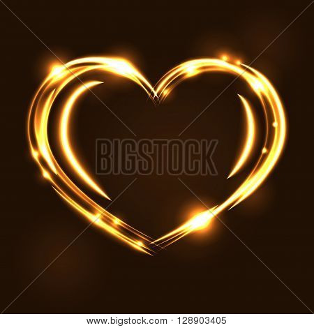 Gold heart light tracing effect. Glowing magic fire trace. Sparkle swirl trail on black background. Glitter lines flying sparkling flash lights. Symbol of love Valentine day Vector illustration