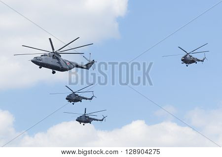 Helicopters Fly Over Red Square