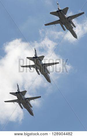 The Group Of Soviet Bomber Sukhoi Su-24 Fencer