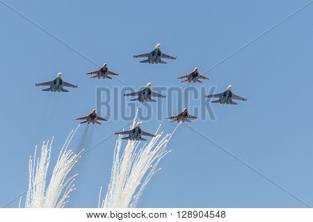 Salute Aerobatic Team Swifts And Russian Knights Fly Over Red Square