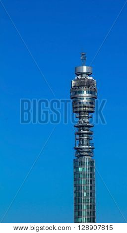 LONDON, UK - CIRCA JUNE, 2015:BT Telecom Tower popular landmark with revolving restaurant near the top giving panoramic views of the area