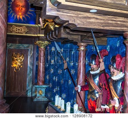 LONDON UK - JUNE 7 2015:Soldiers with peaks in the streets of the medieval cityof Madame Tussauds museum. Madame Tussauds London is famous for recreating famous people and celebrities in wax. It is located in the former London Planetarium.