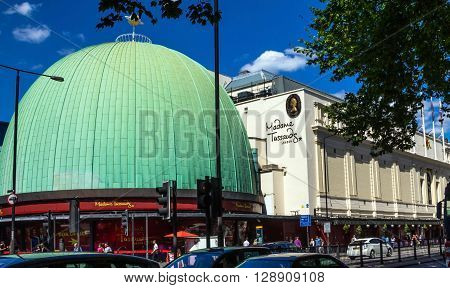 LONDON UK - JUNE 7 2015: Madame Tussauds museum in London. Madame Tussauds London is famous for recreating famous people and celebrities in wax. It is located in the former London Planetarium.