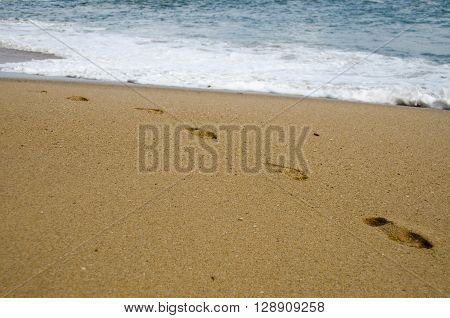 Sand Steps at the beach and waves