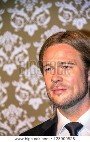 LONDON UK - JUNE 7 2015: Brad Pitt  in Madame Tussauds wax museum  Marie Tussaud was born as Marie Grosholtz in 1761