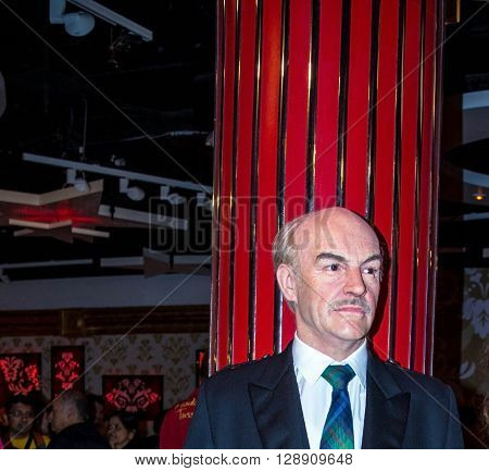 LONDON UK - JUNE 7 2015: Sean Connery at Madame Tussauds  wax museum . Marie Tussaud was born as Marie Grosholtz in 1761