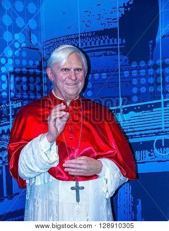 LONDON UK - JUNE 72015: Pope Benedict XVI Figurine At Madame Tussauds Wax Museum.