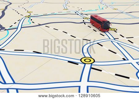 3D rendering of transport itinerary with bus