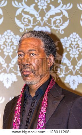 LONDON UK - JUNE 7 2015: Morgan Freeman Madame Tussauds museum in London. Marie Tussaud was born as Marie Grosholtz in 1761