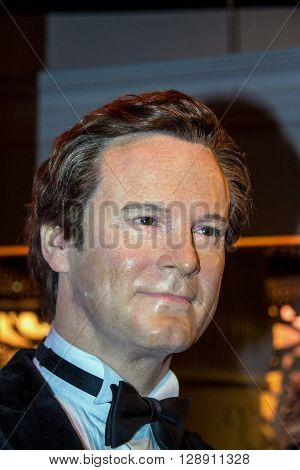LONDON UK - JUNE 7 2015: Colin Firth in Madame Tussauds museum. Marie Tussaud was born as Marie Grosholtz in 1761