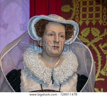 LONDON UK - JUNE 7 2015: Mary Queen of Scots (1542-1587) wax figure At Madame Tussauds Museum