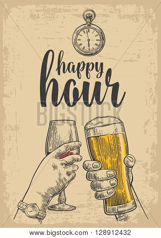 Two hands clink a glass of beer and a glass of wine. Drawn design element. Vintage vector engraved illustration for web poster invitation to party. Isolated on beige background. Happy hour