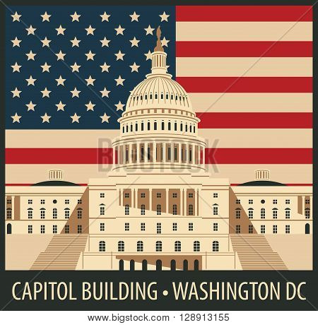 Vector illustration Capitol Building in Washington DC with flag