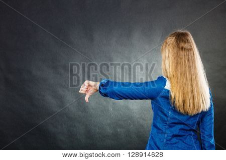 Depressed Blonde Woman Covering Face.