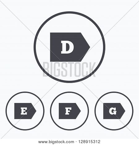 Energy efficiency class icons. Energy consumption sign symbols. Class D, E, F and G. Icons in circles.
