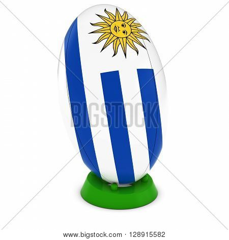 Uruguay Rugby - Uruguayan Flag On Standing Rugby Ball - 3D Illustration