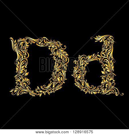 Richly decorated letter 'd' in upper and lower case on black background.