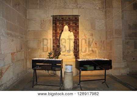 JERUSALEM, ISRAEL - OCTOBER 22, 2013: Statue of Mary inside the church of St. Anne, a Roman Catholic church, located at the start of the Via Dolorosa in Old Jerusalem, Israel.