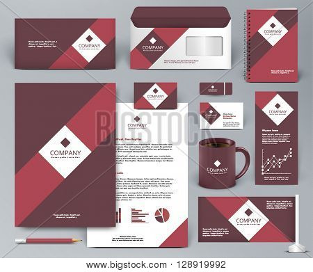 Professional universal red branding design kit for shop, cafe, restaurant. Corporate identity template. Business stationery mock-up. Red, vinous, white colors. Vector illustration: folder, cup, etc.