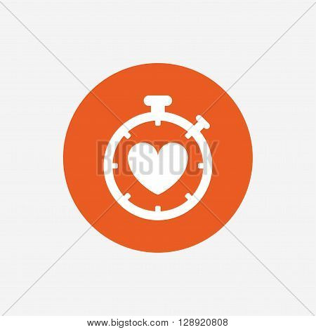 Heart Timer sign icon. Stopwatch symbol. Heartbeat palpitation. Orange circle button with icon. Vector