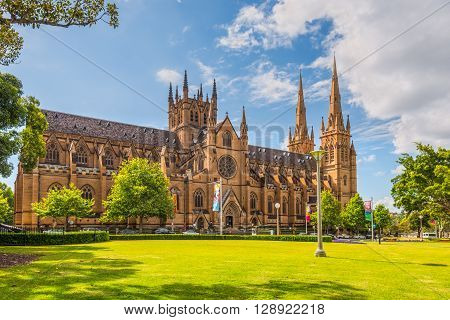 Sydney Australia - November 11 2014: View of the St Mary's Cathedral in a nice sunny day Sydney. The Metropolitan Cathedral of St Mary is the cathedral church of the Roman Catholic Archdiocese of Sydney and the seat of the Archbishop of Sydney.