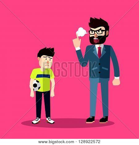 Business man blaming his kid .eps10 editable vector illustration design
