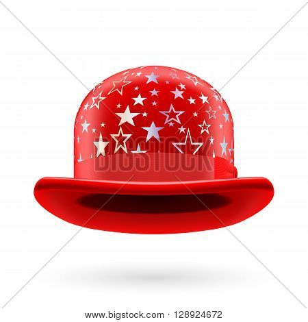 Red round bowler hat with silver glistening stars.