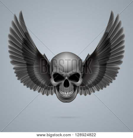 Evil looking skull with two crow wings.