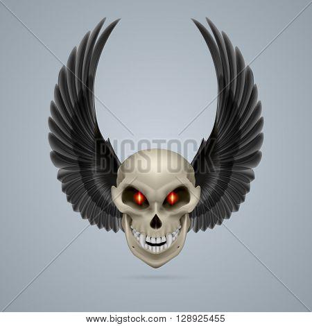 Evil looking mutant skull with raised black wings