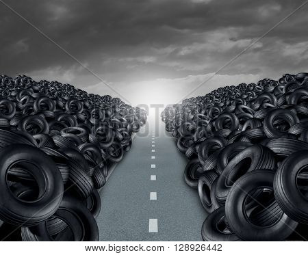 Tire ot tyre landfill automotive transportation concept as a heap of black rubber wheels stacked high with a clear road path as a car transportation symbol with 3D illustration elements.