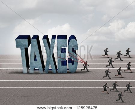 Tax burden business concept as a slow burdened taxpayer pulling a heavy rock shaped as a 3D illustration taxes text as other people run on a path