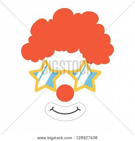 Clown props face set. Clown mask. Party  funnyman birthday photo booth props. Wig, nose, funny glasses, smile. Vector illustration clown photo booth props. Clown props.