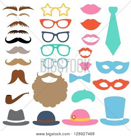 Props set. Party birthday photo booth props. Hat, mask, cylinder, moustache, beard, sunglasses, lips, bow tie, tube, beret. Vector illustration photo booth props. Hipster props.