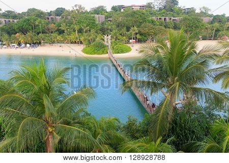 Suspension bridge linking Palawan Beach to the Southernmost Point of Continental Asia Sentosa Island Singapore