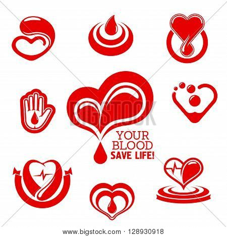 Blood donation conceptual symbols with bright red hearts with pulse, drops of blood and helping hand, supplemented by ribbon banner, concentric circles and caption Your Blood Save Life