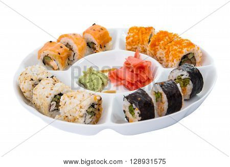 sushi isolated on white backgroundted, japan, japanese,