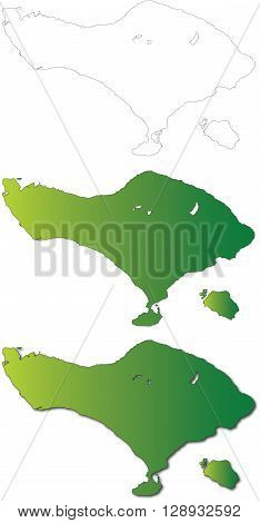 Bali Map Set Vector Illustration. Maps include black outline green and shadow options. Vector illustration which may be edited and resized in Adobe illustrator without loosing quality. Ideally suited as an education travel or tourism resource.